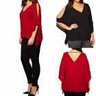 1pc Womens Chiffon Plus Size Tops V-Neck Batwing Sleeve T Shirt Blouse Oversized