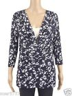 New ex GEORGE Blue & White Floral Layer Casual Top 3/4 Sleeve Size 10 - 24