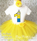 Yellow Minion Baby Girl 1st First Birthday Tutu Outfit Shirt Set