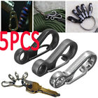 5PCS Useful Stainless Steel Split Keychain Key Ring Clasps Clips Hook Carabiner