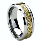 New Tungsten  Gold Celtic Dragon Inlay Mens Wedding Band Ring 7 mm
