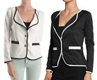 Ivory Black Contrast Stylish 2 Button Stretch Long sleeve Office Jacket Blazer