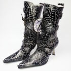 New Rock M.9373-S5 Women's Spider Web Malicia Pointed Pixie Gothic Heeled Boots