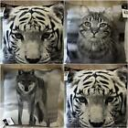 "LUXURY ANIMAL PRINTED CUSHION COVERS 18"" CHOICE OF TIGER WOLF OR CAT DIGITAL"