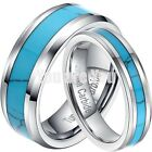 Men Women His Her Blue Tungsten Carbide Turquoise Wedding Band Ring 5mm/8mm Gift
