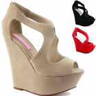 LADIES WOMENS PLATFORM PEEPTOE HIGH HEEL STRAPPY WEDGE SANDALS SHOES SIZE 3-8