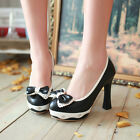 Womens Retro High Block Heel Bowknot Lolita PU Leather Pump Court Shoes UK2-8.5