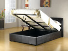 4FT6 DOUBLE KING FAUX LEATHER OTTOMAN STORAGE BED / MEMORY OR ORTHO TOPPED MATT
