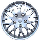 SET OF 4X14 INCH ALLOY LOOK WHEEL TRIMS/HUB CAPS SILVER- UNIVERSAL FITTINGS R14