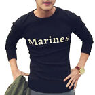 sto Mens Spring Round Neck 3/4 Sleeves Casual White Letter Black T-shirt M-L