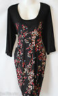 NWT Womens Plus Size Floral & Black 3/4 Sleeved Jersey Tunic Top Dress 22-24