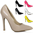 WOMENS HEELED POINTED TOE LEATHER STYLE COURT SHOES SIZE 3 - 8