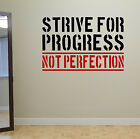 Strive for Progress Gym Motivate Wall Decal Quote Spinning Fitness Weight Loss
