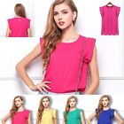Unused ladies Loose T-shirt Chiffon Short Sleeve Casual Tops Blouse Low Price