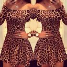 New Sexy Ladies Casual Long Sleeve Party Evening Cocktail MINI Dress Leopard