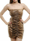 Women Sexy Brown Snake Skin Leather Look Club Going Out Dress Size 8 10 12 NEW