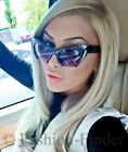 Large Glossy Big Cat Eye Rasoir Half Frame Cut Off Sunglasses Razor Glasses L