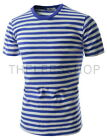 (CAS1) Slim Fit Two-tone Round Neck  Colorful Stripe Short Sleeve Cotton Tshirts