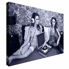 Beautiful disco women on bed Record Canvas Art Cheap Wall Print Home Interior