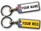 PERSONALISED NUMBER PLATE KEYRING Flags Custom Gift Large Chrome Double Sided