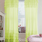 Top & Bottom Ruffle Curtains Top Rod Pocket All size & color 2- panels- EHS