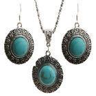 Retro Cabochon Turquoise Silver Plated Inlay Necklace Stud Earrings Set Chain DS