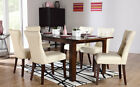Java & Bewley Extending Dark Wood Dining Table & 4 6 Leather Chairs Set (Ivory)