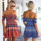 Chic Women Off the Shoulder Wrap Chest Summer Beach Party Skater Mini Dress S-XL