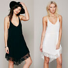 Adjustable Drawstring Lace Trim Women's Club Party Night Out Trapeze Slip Dress