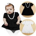 Baby Dress - Christening Party White / Black Girl Necklace Design 3 6 12 18 24M