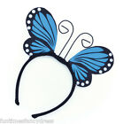 Blue Butterfly Wings & Antenna On Headband Ugly Bug Ball Fairy Fancy Dress