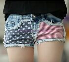 Hot Girl Women American Flag Mini Vintage Denim Jeans Shorts Pants Trousers Mid