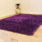 LARGE MEDIUM SMALL PURPLE COLOUR 3CM THICK SPAGHETTI NOODLE SPARKLE SHAGGY RUGS