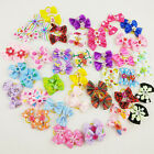 1-50 pairs Wholesale Multicolor Mix Pet Dog Hair Bow Pearl Flowers Rubber Bands