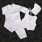 4 Pcs Satin Baptism Christening Long Suit Bonnet White Baby Boy Size 0-12m 020