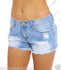 Womens Size 6 8 10 12 14 NEW JEAN SHORTS Ladies DENIM RIP Crochet HOTPANTS Short