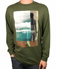 "REEF. Olive Green. ""Lifes Short Go Surfing"" Mens Long Sleeve T-Shirt. Size L, XX"