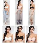 Sexy Womens Off Shoulder Tube Sleeveless Short Tops Blouse Tee Vest Bra GBW