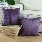 Purple Ground Vintage Embroidered Tree Cushion Covers Pillows Shells Decor 45cm