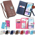 CrocoDile PU Leather Dual Wallet id Card Pocket Case Cover for Apple Samsung LG