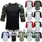 Kyпить New 3/4 Sleeve Baseball Shirts Raglan Jersey Vintage Men's Tee на еВаy.соm