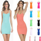 New Elastic Women's Camisole Spaghetti Strap Long Tank Tops Layering Mini Dress