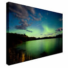 Green Northern Lights over Lake Night Canvas Art Cheap Wall Print Home Interior