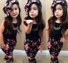 Cute Baby Girls Floral Print T-shirt+Pants+Hair Band Set Kids Party Outfits Tops