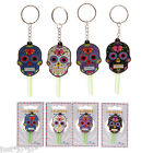 Day Of The Dead Key Ring Chain PVC Funky Novelty Skull Rubber Keyring (359)