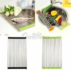Stainless Roll Kitchen Sink Storage Dish Drainer Fruit Dry Shelves Rack Holder