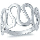 925 Sterling Silver Open Cut Abstract Design Cocktail Fancy Band Ring Size 3-13