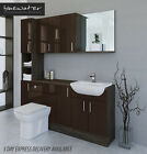 COFFEE / MALI WENGE BATHROOM FITTED FURNITURE 1800MM WITH WALL & TALL UNIT