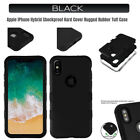 Apple iPhone BLACK Matte Case Shockproof Hard Rubber Hybrid Tough Defender Cover