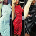 Dot Wave Point Sexy Backless Bodycon Dress Party Women Formal Summer Fitted New